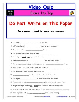 "A Magic School Bus ** ""Blows Its Top"" Worksheet, Answer Sheet, Two Quizzes."
