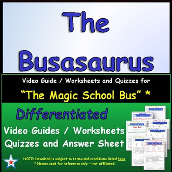 "A Magic School Bus ** ""Busasaurus"" Worksheet, Answer Sheet"