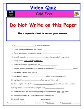 Differentiated Worksheet, Quiz, Ans for Magic School Bus - Cold Feet  *