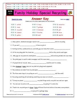 Differentiated Worksheet, Quiz, Ans for Magic School Bus - Fam Holiday Recycle *