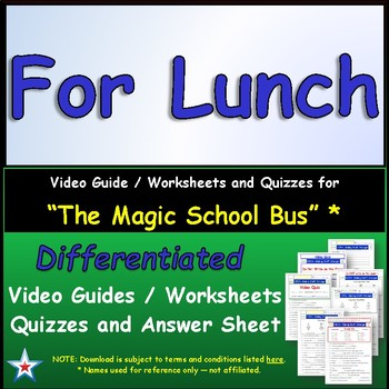 "A Magic School Bus ** ""For Lunch"" Worksheet, Ans Sheet, Tw"
