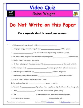 Differentiated Worksheet, Quiz, Ans for Magic School Bus - Gains Weight*