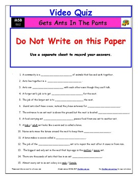 Differentiated Worksheet, Quiz, Ans for Magic School Bus - Gets Ants In Pants