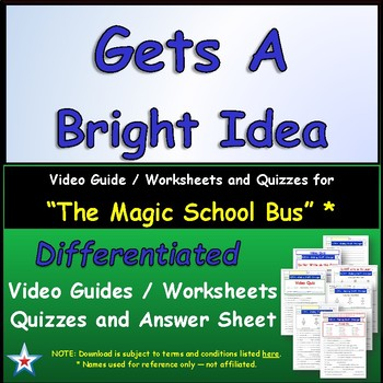 "A Magic School Bus ** ""Gets Bright Idea"" Worksheet, Answer"