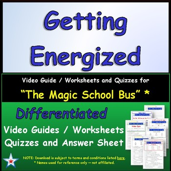 "A Magic School Bus ** ""Gets Energized"" Worksheet, Answer S"