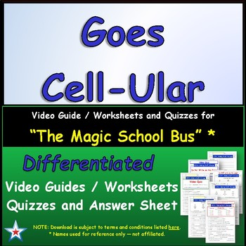 """A Magic School Bus ** """"Goes Cell-Ular"""" Worksheet, Answer S"""