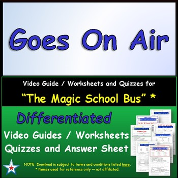 "A Magic School Bus ** ""Goes On Air"" Worksheet, Answer Shee"