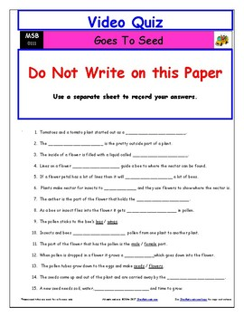Differentiated Worksheet, Quiz, Ans for Magic School Bus - Goes To Seed *
