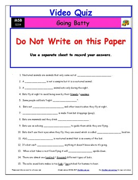 Differentiated Worksheet, Quiz, Ans for Magic School Bus - Going Batty  *