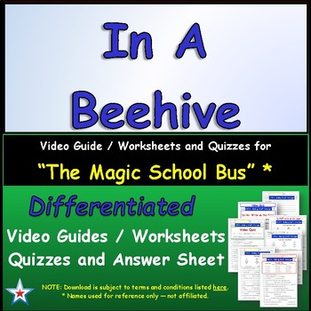 """A Magic School Bus ** """"In a Beehive"""" Worksheet, Answer Sheet, Two Quizzes."""