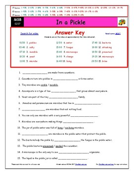 Differentiated Worksheet, Quiz, Ans for Magic School Bus - In A Pickle  *