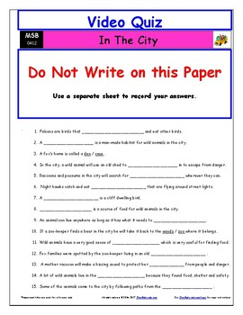 Differentiated Worksheet, Quiz, Ans for Magic School Bus - In The City  *