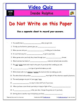 Differentiated Worksheet, Quiz, Ans for Magic School Bus - Inside Ralphie *