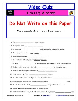 Differentiated Worksheet, Quiz, Ans for Magic School Bus - Kicks Up A Storm  *