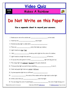 Differentiated Worksheet, Quiz, Ans for Magic School Bus - Makes A Rainbow  *