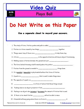Differentiated Worksheet, Quiz, Ans for Magic School Bus - Plays Ball  *