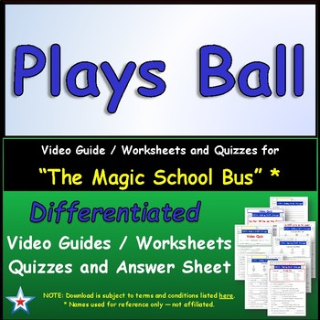 "A Magic School Bus ** ""Plays Ball""  Worksheet, Ans Sheet,"