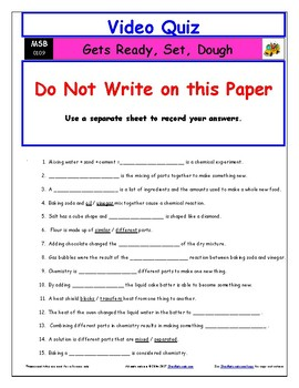 Differentiated Worksheet, Quiz, Ans for Magic School Bus - Gets Ready Set Dough*