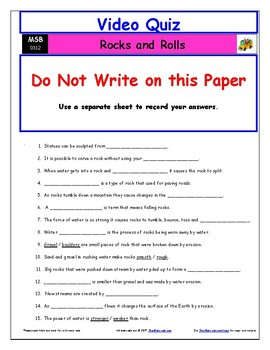 """A Magic School Bus ** """"Rocks and Rolls"""" Worksheet, Answer Sheet, Two Quizzes."""