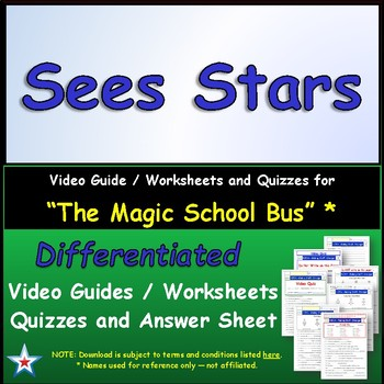 "A Magic School Bus ** ""Sees Stars"" Worksheet, Answer Sheet, Two Quizzes."