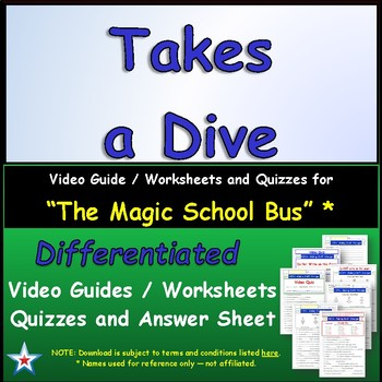 """A Magic School Bus ** """"Takes A Dive"""" Worksheet, Answer She"""
