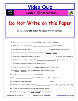 Differentiated Worksheet, Quiz, Ans for Magic School Bus - Under Construction  *