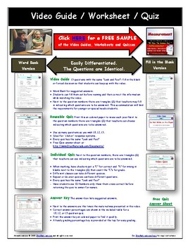 Differentiated Worksheet, Quiz, Ans for Magic School Bus - Ups And Downs *