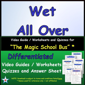 """A Magic School Bus ** """"Wet All Over"""" Worksheet, Answer She"""