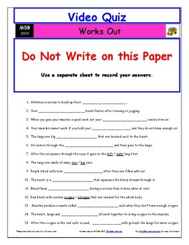 "A Magic School Bus ** ""Works Out"" Worksheet, Answer Sheet, Two Quizzes."
