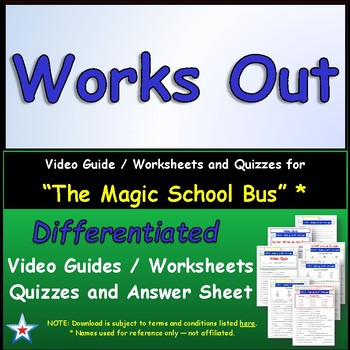 """A Magic School Bus ** """"Works Out"""" Worksheet, Answer Sheet,"""