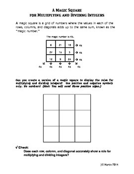 A Magic Square for Multiplying and Dividing Positive and Negative Integers