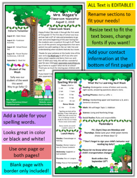 A Magical Tree House Teacher Newsletter Template