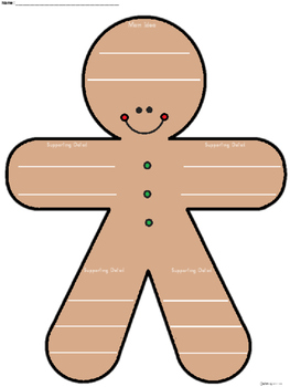 A+ Main Idea with Supporting Details: Gingerbread Man Graphic Organizer
