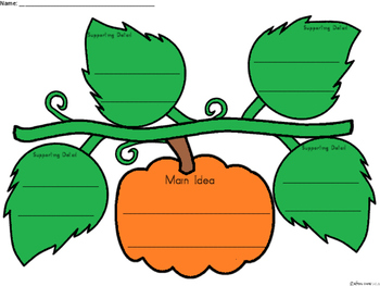 A+ Main Idea with Supporting Details: Pumpkin Organizer
