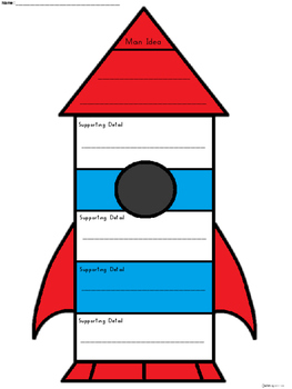 A+ Main Idea with Supporting Details: Rocket Ship Graphic Organizer
