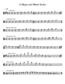 A Major and Minor Scales for Viola