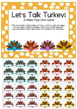 A Make-Your-Own Game for Thanksgiving & Fall - Articulation or Sight Words