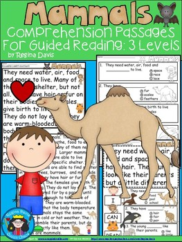 A+ Mammals  Comprehension For Guided Reading