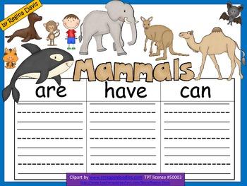 A+  Mammals... Three Graphic Organizers