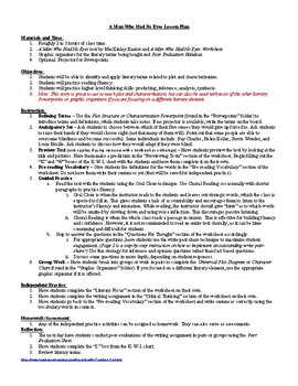 Lesson: A Man Who Had No Eyes by MacKinlay Kantor Lesson Plan, Worksheets, Key