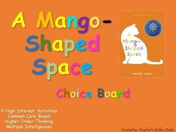 A Mango-Shaped Space Choice Board Tic Tac Toe Novel Activities Menu Project
