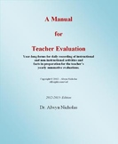 A Comprehensive Manual for Teacher Evaluation (2016-2017) Edition