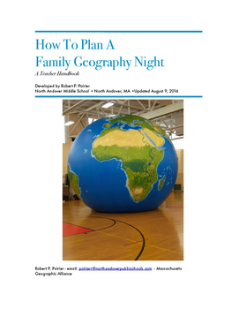 A Manual on How To Plan A Family Geography Night
