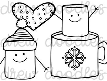 A Marshmallow World Digital Clip Art Set- Black Line Version