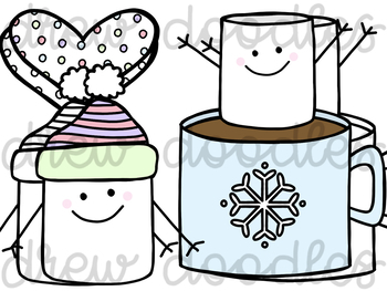 A Marshmallow World Digital Clip Art Set- Color and Black Line COMBO