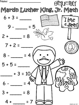 A+ Martin Luther King, Jr. Addition and Subtraction Differentiated  Practice