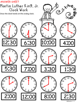 A+ Martin Luther King, Jr. Analog Clock & Digital Clock Work (Hour & Half Hour)