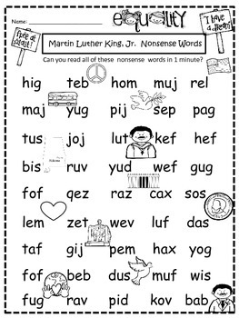 A+ Martin Luther King, Jr. CVC, Nonsense Words And Letter Reading Practice