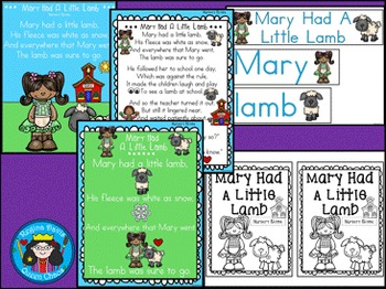 A+ Mary Had A Little Lamb: Book, Word Wall, Poster ,Handwriting, Sequencing