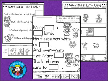 A+ Mary Had A Little Lamb: Book, Word Wall, Poster, Handwriting, Sequencing
